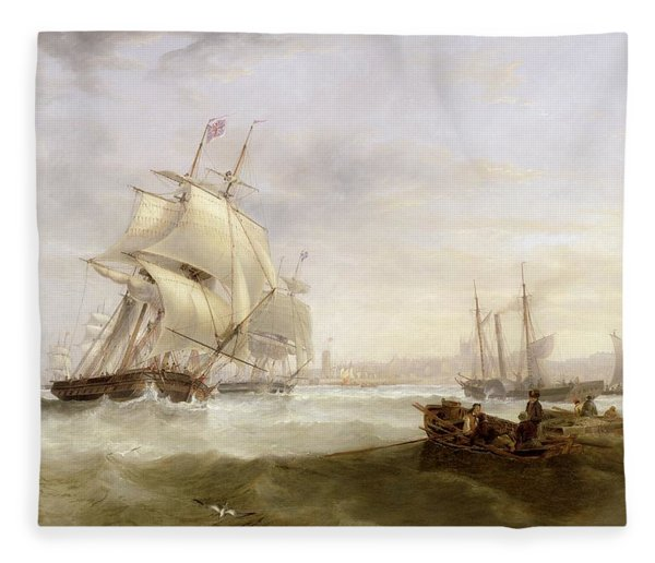 Shipping Off Hartlepool Fleece Blanket