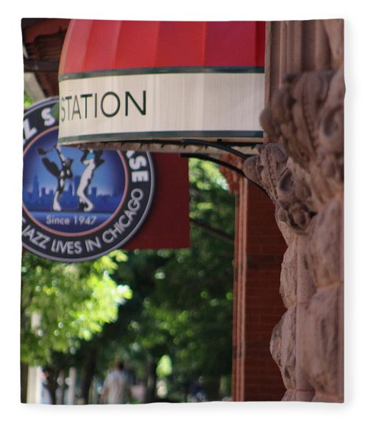 Sidewalk View Jazz Station  Fleece Blanket