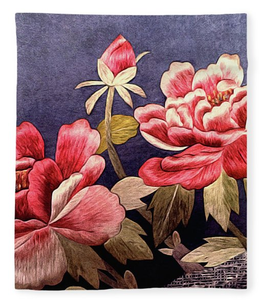 Fleece Blanket featuring the tapestry - textile Silk Peonies - Kimono Series by Susan Maxwell Schmidt