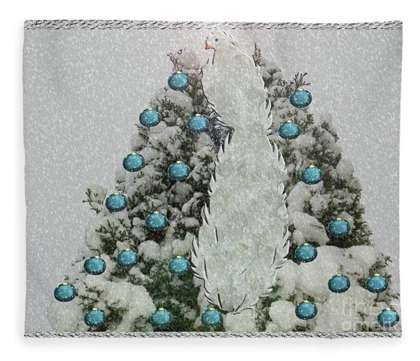 Silver Winter Bird Fleece Blanket