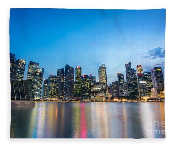 Singapore By Night Fleece Blanket
