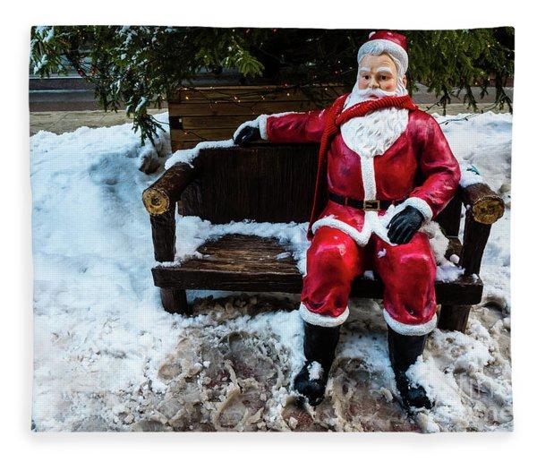 Sit With Santa Fleece Blanket