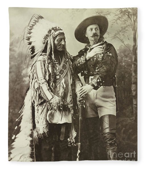 Sitting Bull And Buffalo Bill Cody Fleece Blanket