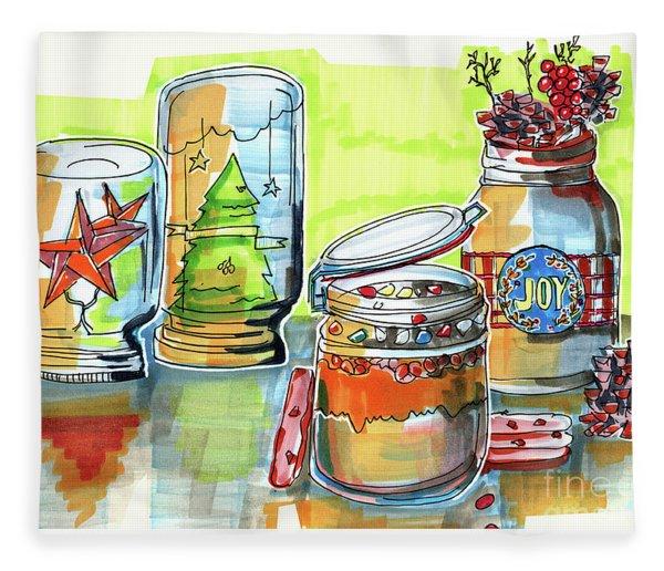 Sketch Of Winter Decorative Jars  Fleece Blanket