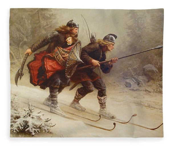 Skiing Birchlegs Crossing The Mountain With The Royal Child Fleece Blanket