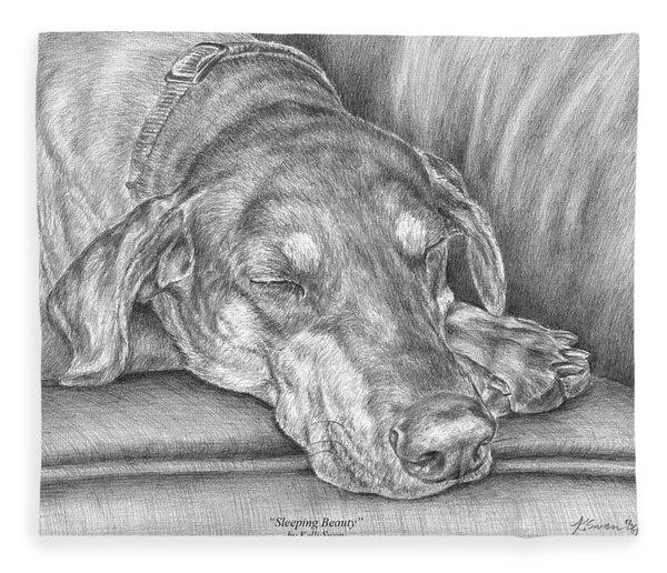 Sleeping Beauty - Doberman Pinscher Dog Art Print Fleece Blanket