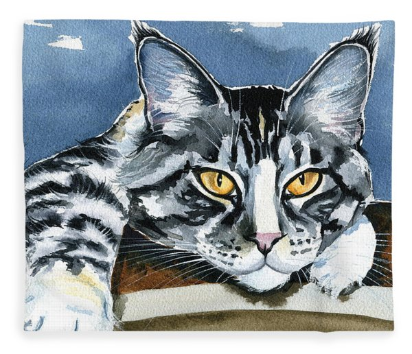 Smilla - Maine Coon Cat Painting Fleece Blanket