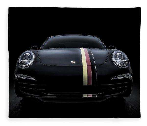 Black Porsche 911 Fleece Blanket