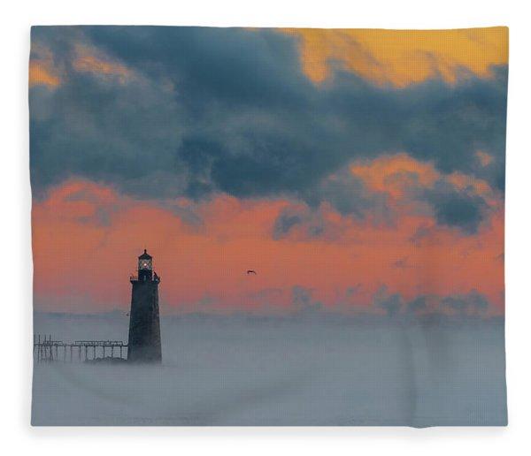 Smokey Sunrise At Ram Island Ledge Light Fleece Blanket