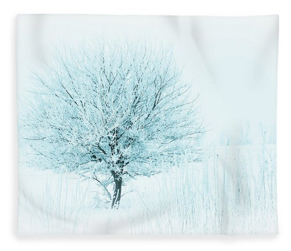 Snow Field Tree Fleece Blanket