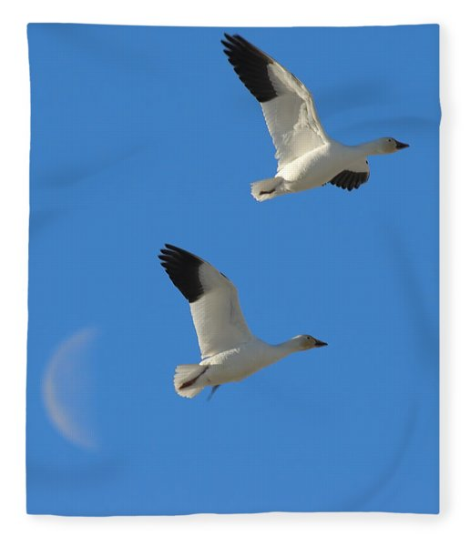Snow Geese Moon Fleece Blanket