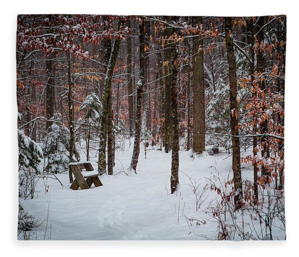 Snowy Bench Fleece Blanket