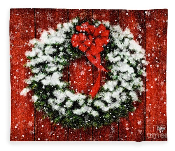 Snowy Christmas Wreath Fleece Blanket