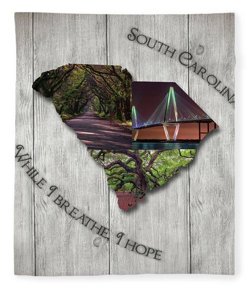 South Carolina State Map Collage Fleece Blanket