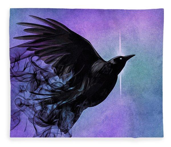 Fleece Blanket featuring the digital art Spirit Raven by Susan Maxwell Schmidt