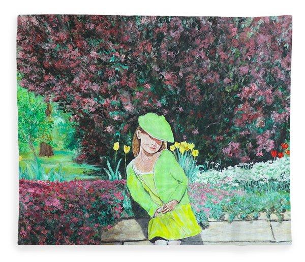 Springtime On Iris Fleece Blanket