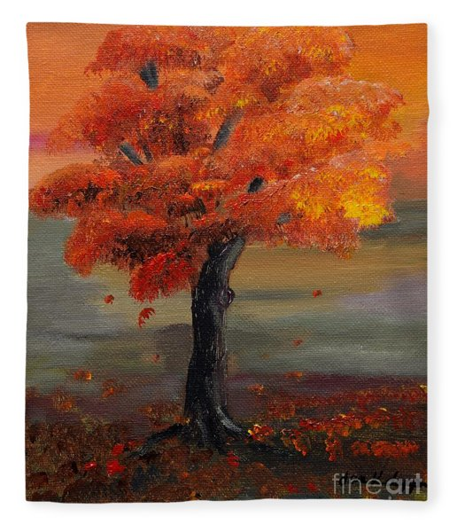 Stand Alone In Color - Autumn - Tree Fleece Blanket
