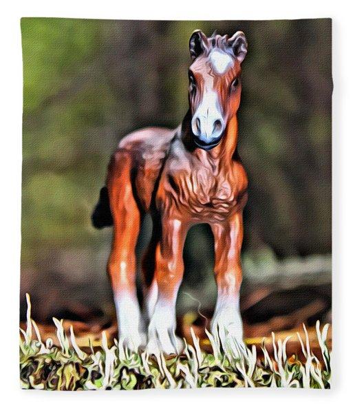Standing Horse 2 Fleece Blanket