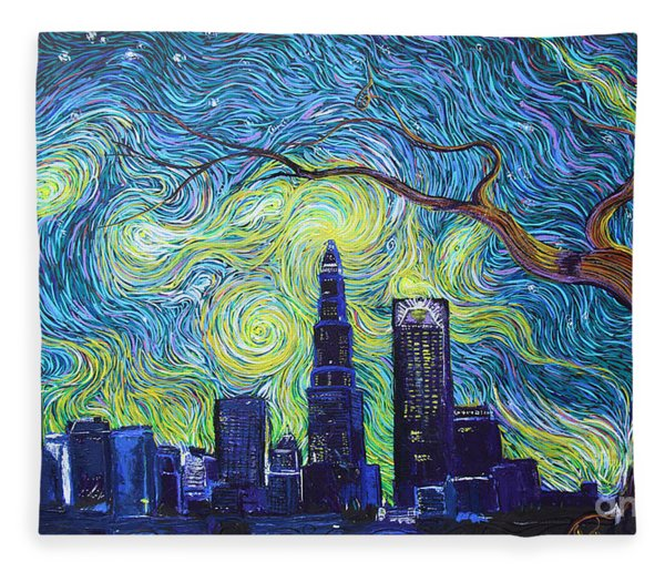 Starry Night Over The Queen City Fleece Blanket