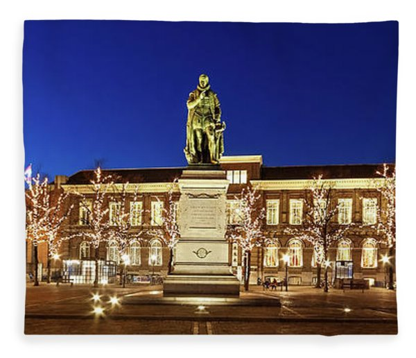Fleece Blanket featuring the photograph Statue Of William Of Orange On The Plein - The Hague by Barry O Carroll