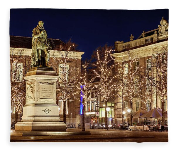 Fleece Blanket featuring the photograph Statue Of William Of Orange - The Hague by Barry O Carroll