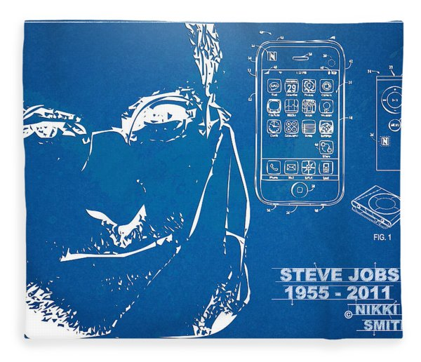 Steve Jobs Iphone Patent Artwork Fleece Blanket