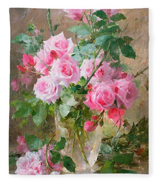 Still Life Of Roses In A Glass Vase  Fleece Blanket