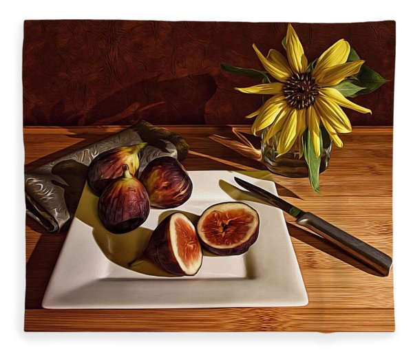 Still Life With Flower And Figs Fleece Blanket