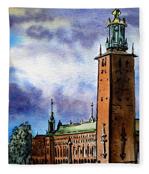 Stockholm Sweden Fleece Blanket
