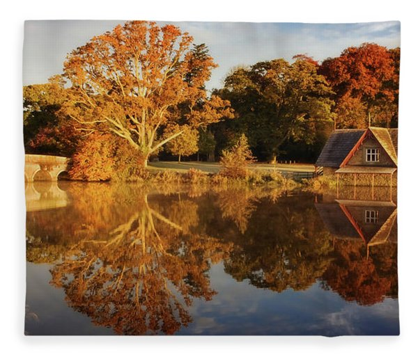 Fleece Blanket featuring the photograph Stone Bridge And Boat House - Kildare, Ireland by Barry O Carroll