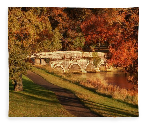 Fleece Blanket featuring the photograph Stone Bridge On The Rye Water - Kildare, Ireland by Barry O Carroll