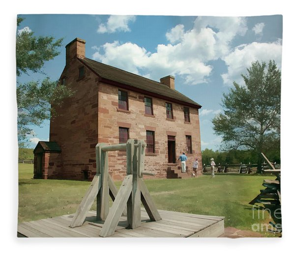 Stone House At Manassas With Digital Effects Fleece Blanket