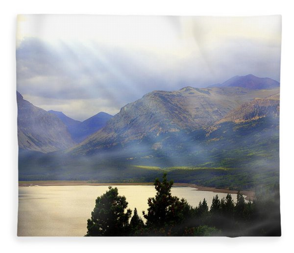 Storms A Coming-lower Two Medicine Lake Fleece Blanket