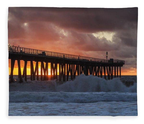 Stormy Sunset Fleece Blanket
