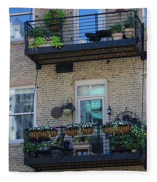 Summer Balconies In Chicago Illinois Fleece Blanket