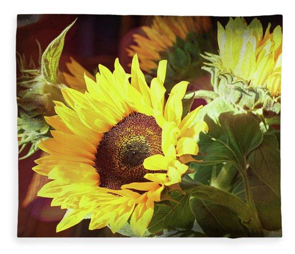 Sun Of The Flower Fleece Blanket