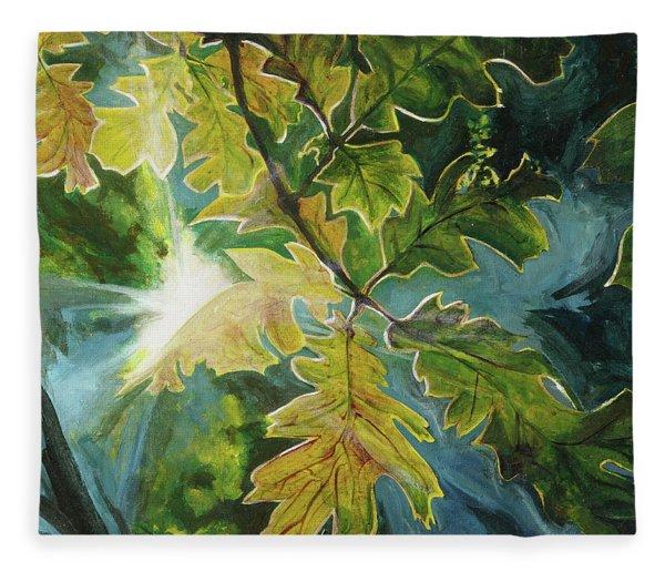 Sun Through Oak Leaves Fleece Blanket