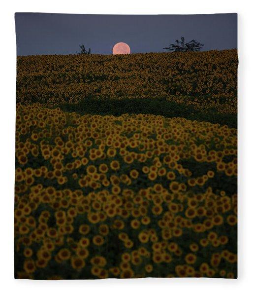 Sunflower Moonset Fleece Blanket