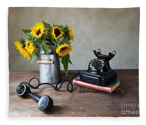 Sunflowers And Phone Fleece Blanket