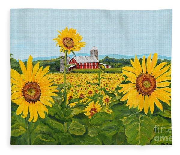 Sunflowers On Route 45 - Pennsylvania- Autumn Glow Fleece Blanket