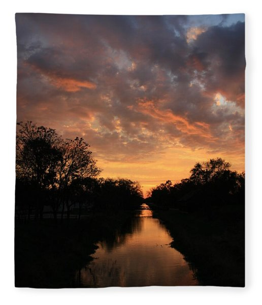 Sunrise On The Illinois Michigan Canal Fleece Blanket