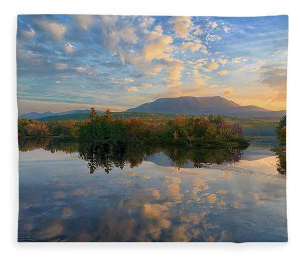 Sunrise Over Mt. Katahdin Fleece Blanket