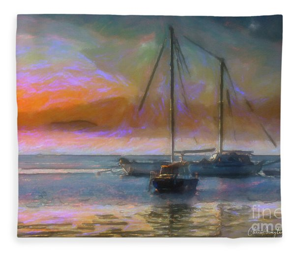 Sunrise With Boats Fleece Blanket