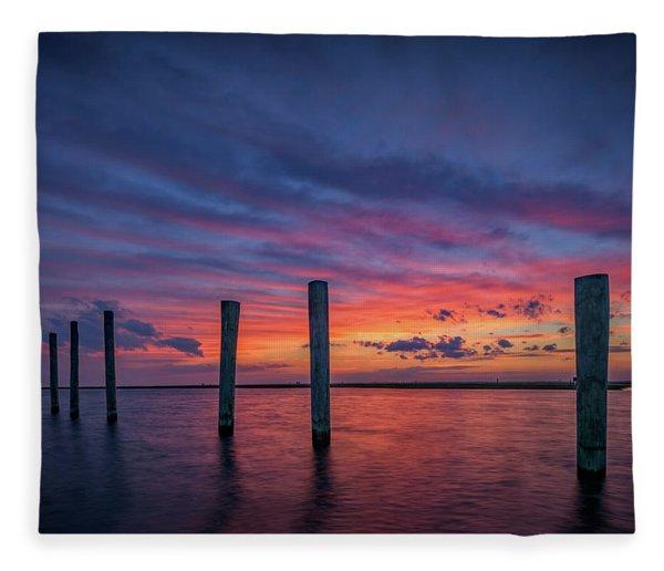 Sunset At Cedar Beach Marina Fleece Blanket
