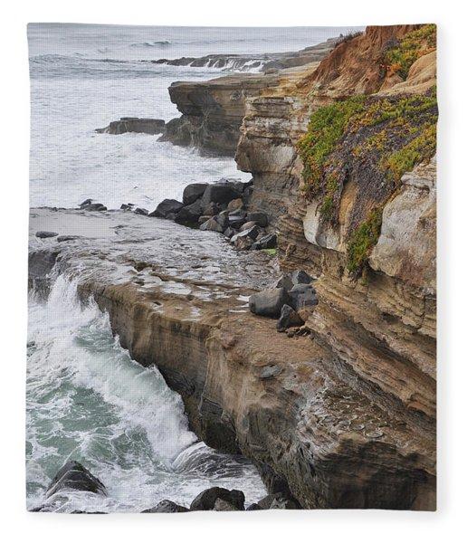 Sunset Cliffs San Diego Portrait Fleece Blanket