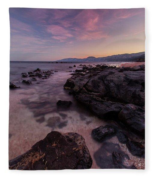 Sunset In Cala Gonone Fleece Blanket