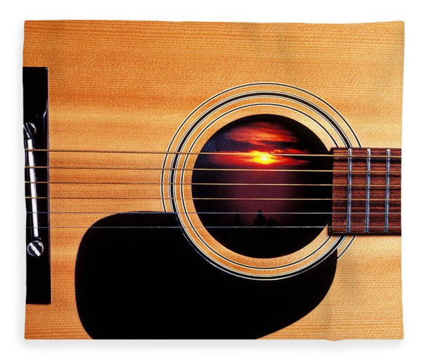 Sunset In Guitar Fleece Blanket