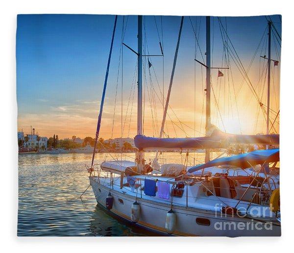 Sunset In Kos Fleece Blanket