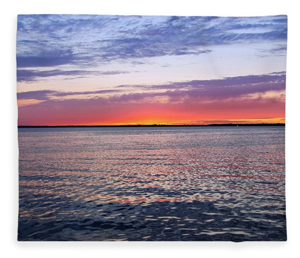 Sunset On Barnegat Bay I - Jersey Shore Fleece Blanket