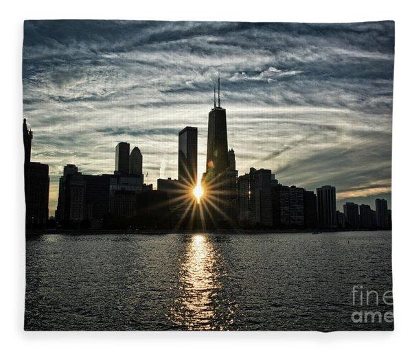 Sunset Over Chicago Skyline And Lake Michigan Fleece Blanket